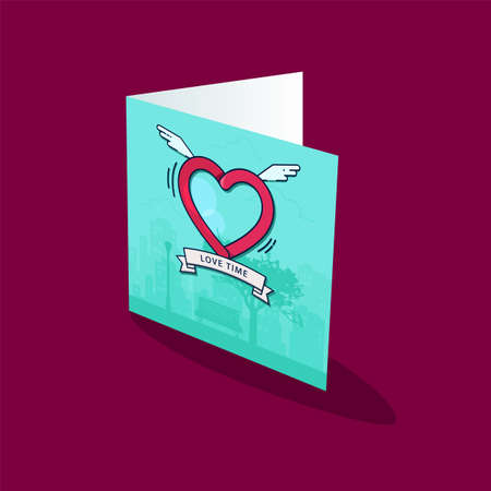 Greeting card template. Heart with wings in the sky with clouds. Illustration