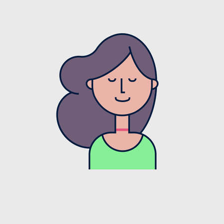Colorful vector avatar of dreaming girl. Flat illustration Illustration