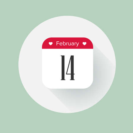Calendar date February 14th. Flat vector calendar icon with long shadow for Valentines day. Design element for infographic.  イラスト・ベクター素材