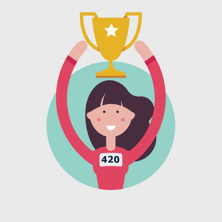 Enjoy girl player holds the winners trophy in flat illustration.