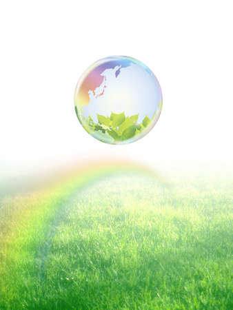 Ecology  earth floating in the meadow with rainbow Stock Photo - 21191654