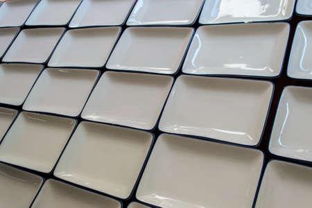 ceramics: Close-up empty white square dishware ceramics.
