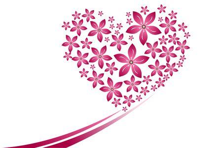 Many pink flower heart shape on the white background. Reklamní fotografie