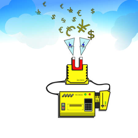 attract: The magnet machine can attract the money from the sky. Stock Photo