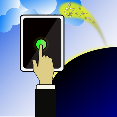 attract: The smart phone can attract the money from the sky. Stock Photo