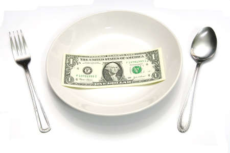 A one dollar bill for buy a meal Stock Photo