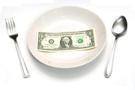 A one dollar bill for buy a meal Standard-Bild