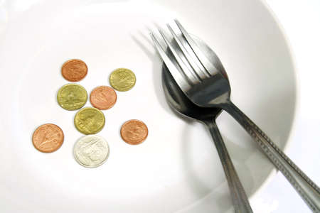 deficient: Asia coins in white plate with spoon