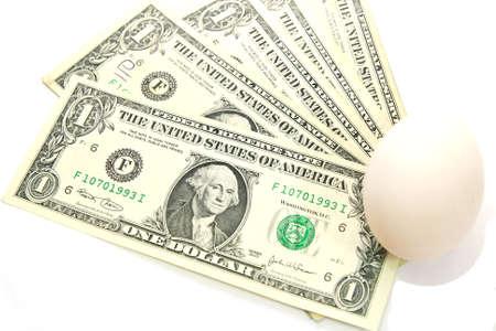 smacker: US dollar bills with white egg, new birth Stock Photo
