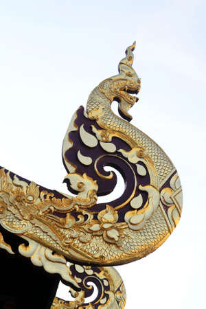 snakes and ladders: Big thai gold  great Naga in temple