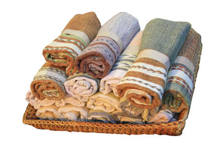 Cotton rolls in basket Stock Photo - 8947984