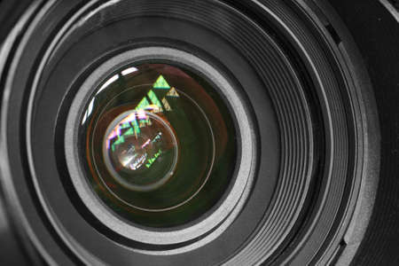 home video camera: camera lens background Stock Photo