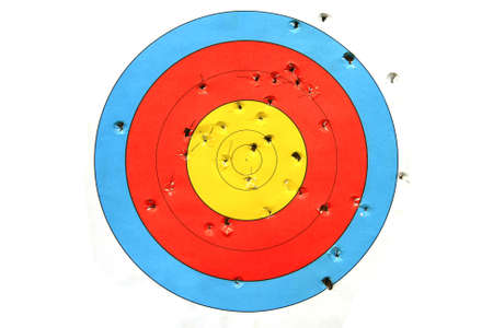 practice target used for shooting with bullet holes in it.  photo