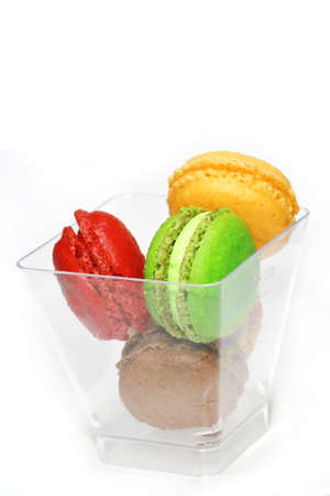 Colorful macaroons in glass  photo