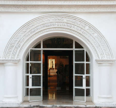 fan shaped: white arch, classic door  Editorial