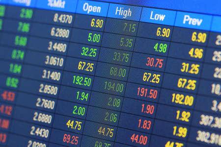 bolsa de valores: Datos financieros-bolsa Foto de archivo