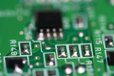 closeup of a computer circuit board Stock Photo