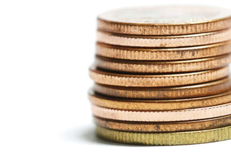 coin stack: copper coin stack Stock Photo