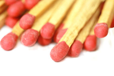 Wooden matches on white background photo