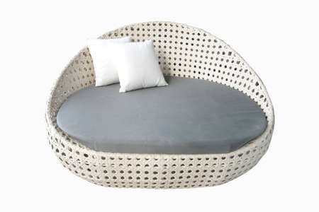 round white gray fabric sofa photo