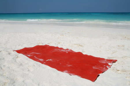 red towel on beatiful beach, Tachai island, Similan island group, Phang nga, Thailand photo