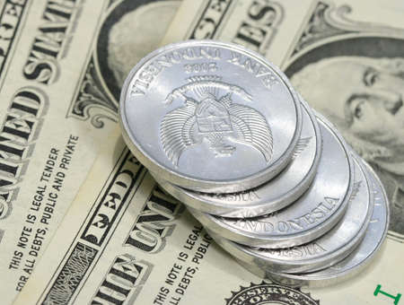 Yuan coins on dollar bill  photo