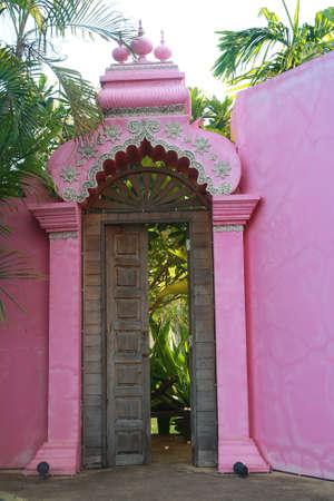 pink temple door, india  Stock Photo