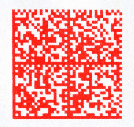 red 2D barcode on paper photo
