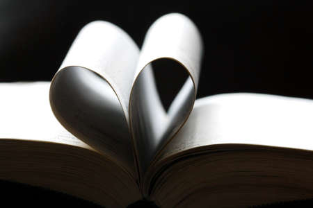 Sheets of a book heart shaped photo