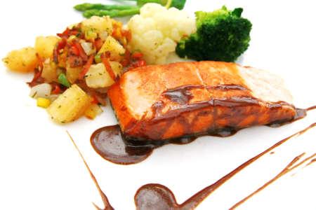 salmon sliced steak Imagens