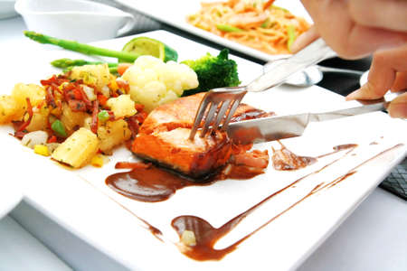 hand cut fish steak  photo