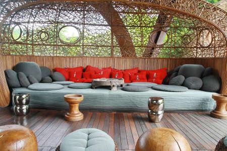 furnishings: big fabric sofa, Tibet traditional