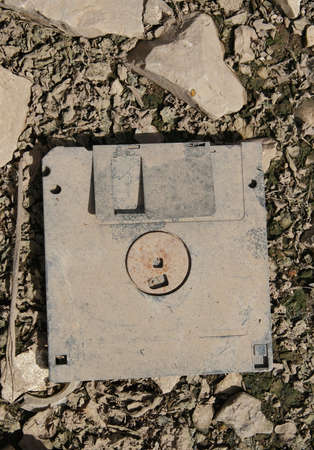 old and dirty floppy disc  photo
