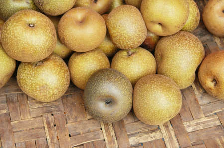 Chinese pear on basket  photo