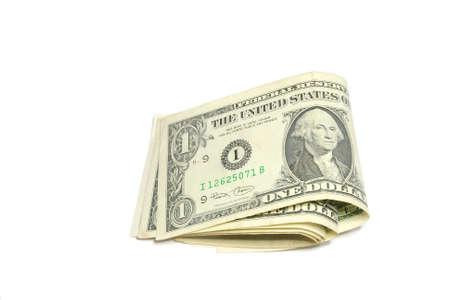 Folding dollar bills isolated