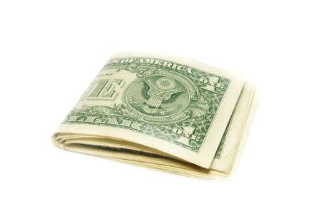 Folded US dollar bills isolated  photo