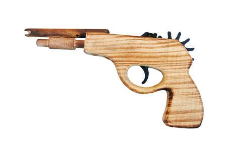 flint gun: madera aislado arma, juguete Foto de archivo