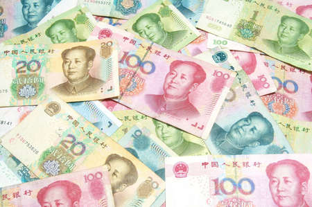 colorful China money bills  photo