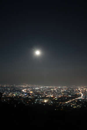 tollway: Chiang Mai city view at nigh, Thailand  Stock Photo