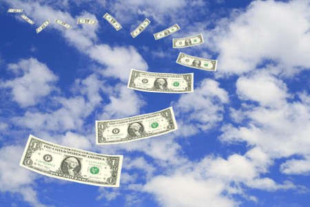 Dollar bill fly in sky  photo