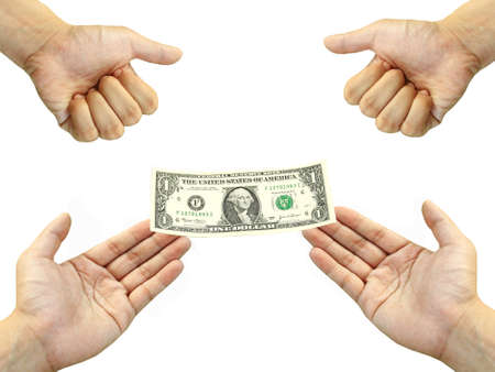 endow: Two hand give one dollar bill to two stranglehold  Stock Photo