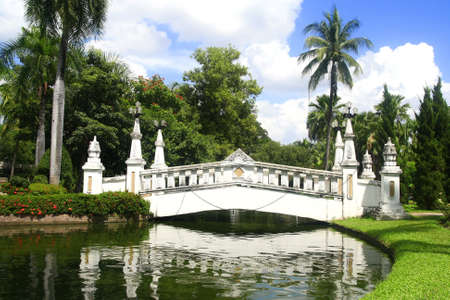 a white bridge in park  photo