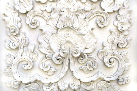 White thai art stucco wall,Thai temple  photo