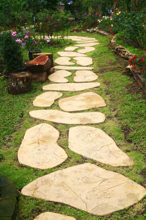 stone walkway in garden, Thailand  Stock Photo - 21097857