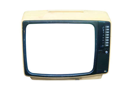 televisor: old CRT television  Stock Photo