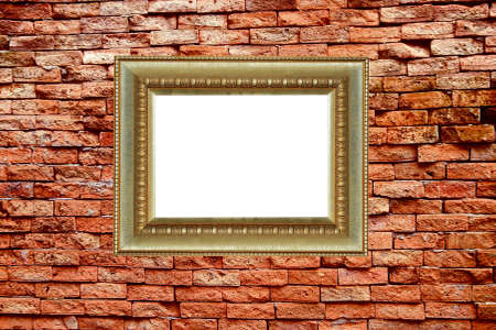frame on old block wall  photo