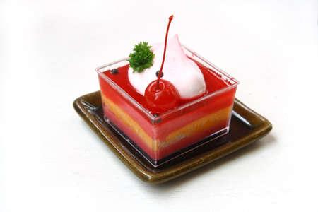 strawberry cheesecake isolated on white photo