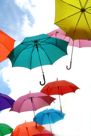 colorful umbrella on blue sky  photo