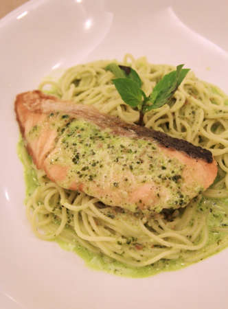 close up salmon and green pasta  photo