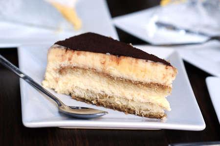 close up Tiramisu cake on table photo
